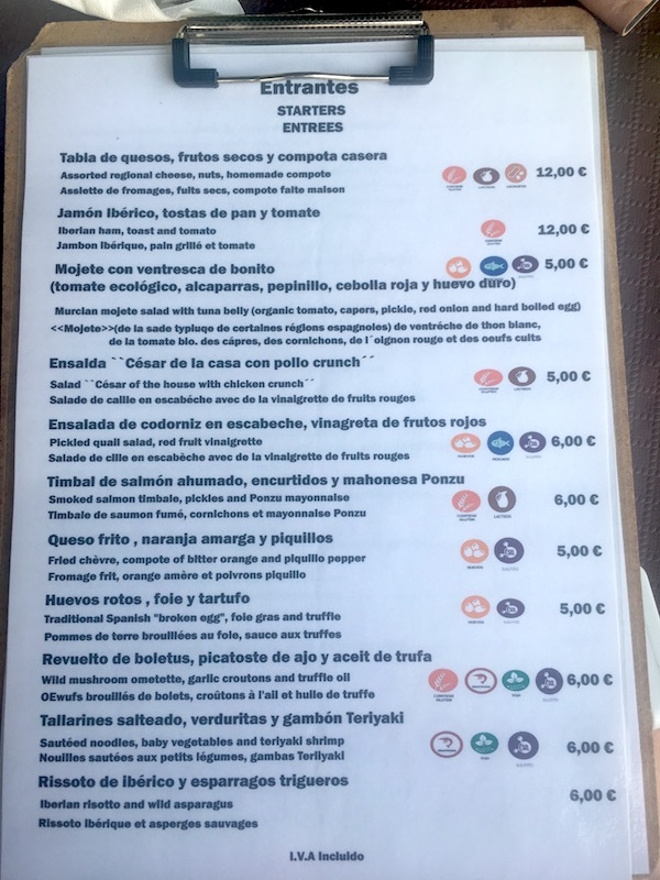 Gastro Bar Menu For starters with prices and dietary information